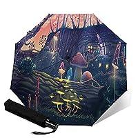 傘 レインウェア 折りたたみ傘 軽量 夏の魔法の森の風景、猫、カメ、ファンタジーの木の野生動物とキノコの庭 晴雨兼用 耐風構造 高耐久度 超撥水 梅雨対策 収納ポーチ付き