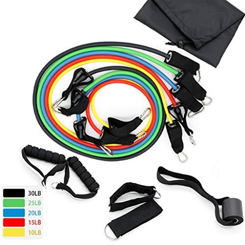 HUO FEI NIAO Stapelbare 100 Pfund in tragbarem Sportwiderstandsband, Latex-Kordelzug, Fitness-AbzieherMit Spannrohr * 5, Griff * 2, Fußring * 2, Sicherheitstürschnalle * 1, Aufbewahrungstasche * 1