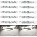 LEDサイドマーカーライトトラックサイドライトトラックサイドマーカーインジケータ、10個LEDトラックサイドライト9 SMD LEDサイドマーカーインジケータライトフロントリアサイドライトポジションランプ24V (白い)