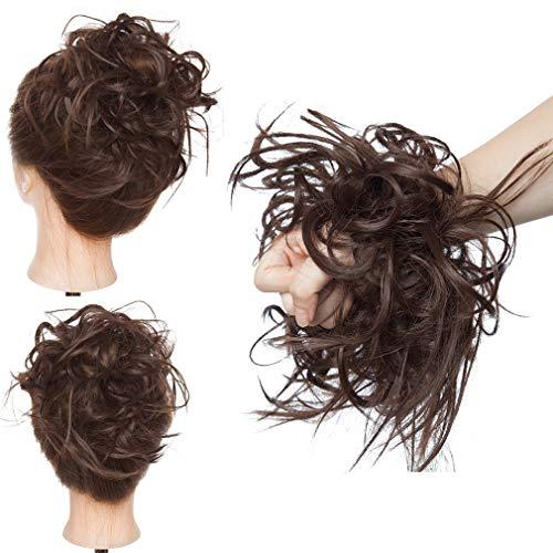 Chignon Capelli Extension Elastico Posticci Hair Finti Ricci Ponytail Coda Ciambella Finta, Marrone Cioccolato