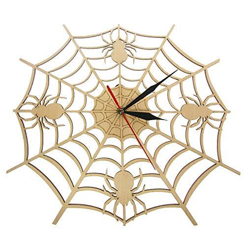 HHKLSF Spinnen- und Webuhr Handgefertigte, Exklusive Holzkunstdekoration Home Geschenk Einzigartiges Design Stille, Nicht tickende Wanduhr