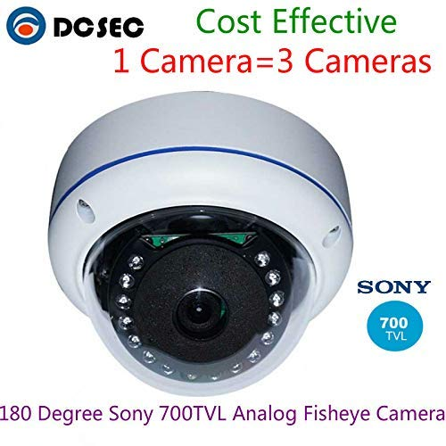 Yuany Telecamera,Telecamera, Analogico 700TVL 180 Gradi grandangolare Fish Eye CCTV Sicurezza Antivandalo Telecamera Dome Visione Notturna IR
