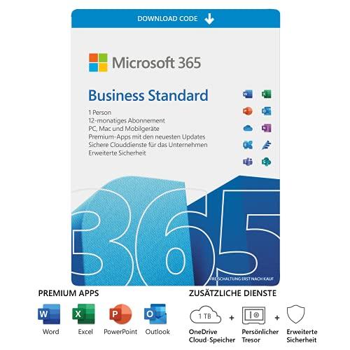 Microsoft 365 Business Standard | 1 Nutzer | 5 PCs/Macs, 5 Tablets und 5 mobile Geräte | 1 Jahresabonnement | Download Code