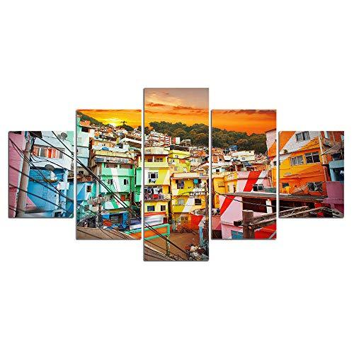 runtooer Bilder Modern Slum Rio Janeiro Brasilien 5 TLG. Leinwandbilder Bild auf Leinwand Vlies Wandbild Kunstdruck Wanddeko Wand Wohnzimmer Wanddekoration Deko