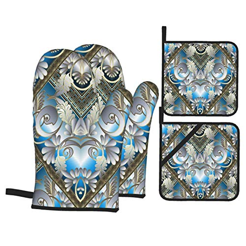 Oven Mitts and Pot Holders Sets of 4,Floral 3d Greek Ornaments White Flowers Leaves Stripes Borders Shapes,BBQ Gloves with Quilted Liner Resistant Hot Pads for Kitchen Cooking Baking Grilling
