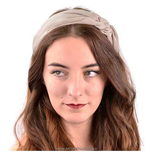Artipistilos® hoofdband met vlechten knoop - camel - gedecoreerde haarbanden
