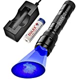 DULEX Black Light Flashlight, High Intensity 395 - 410 nm UV Blacklight Ultraviolet Led Flashlights with charger for Leak Detector, Pet Urine Stain, Scorpion, Bed Bug