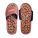 CLORIS Reflexology Acupressure Foot Massager Sandals with Jade Stones and Tourmalines,Massage Slippers Shoes, Foot Care Shoes with a Pair of Sock for Men Women (Brown, UK Women 7.5- 9+,Men 7-8.5+)