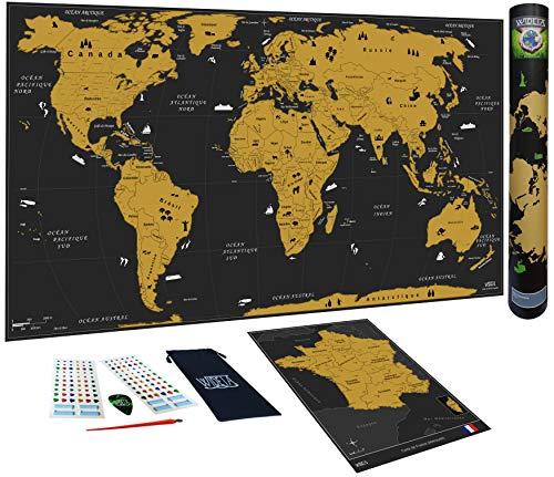WIDETA Carte du Monde à gratter, Français/XXL (82 x 43 cm), Bonus Carte de France, Autocollant, jeton et Stylo de grattage/Edition Or