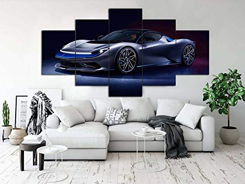 GSDFSD Art Prints - Black purple sports car - Wall Pictures Living Room Decor 5cs/set - Contemporary Pictures Paintings - Modern Landscape Artwork - Frameless