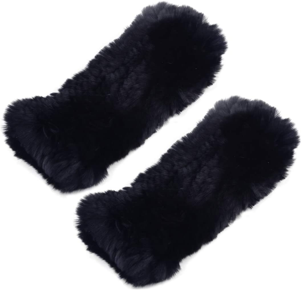 LETAOSK Women Soft Winter Warmer Elastic Wrist Fingerless Thick Gloves Mittens Rex Rabbit Fur 1 Pair Black
