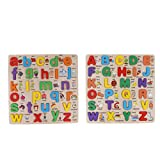 CUTICATE 2 Stück Holz ABC Buchstaben Matching Und Wörter Lernbrett Baby Kleinkind Vorschule Alphabet Lernspielzeug