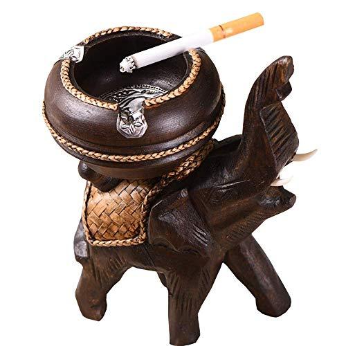 LILICEN Cenicero, Artesanías de Madera destacados Personalidad cenicero de Estar Sala de Arte Retro decoración del hogar 10X18X12cm