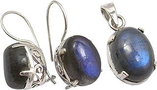 مجموعة مجوهرات فضية اللون للنساء 925 من سيلفر ستار جويل بسلسلة من أقراط من الفضة الخالصة