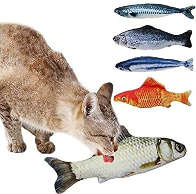Tacobear 5PCS Catnip Toys Set Simulation Catnip Fish Shape Interactive Cat Toys Cats Pillow Chew Bite Supplies for Cat/Kitty/Kitten Catnip Crinkle Toys