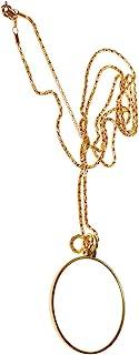 6x Colgante Collar de Lupa con Monóculo Cadena Aumento Cristal Color Oro