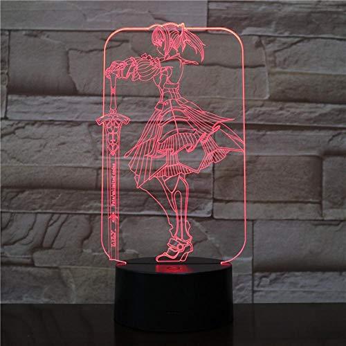 Luzes noturnas 3D para meninos e meninas Fate Grand Order Saber Fate Stay Night Lampara LED 3D DIY Night Light Anime Toy Luminária de mesa LED Night Light para crianças com controle remoto de 16 cores