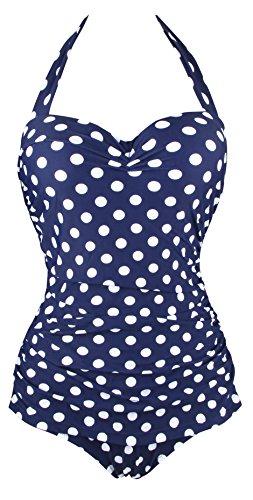 Aixy Vintage 50s Polka Pin Up Halter Un Pezzo Costume da Bagno Monokinis