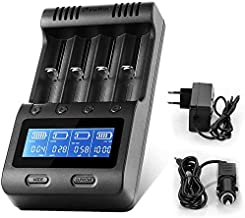 LCD Display Speedy Universal Battery Charger with Car Adapter, Zanflare C4 Smart Charger for Rechargeable Batteries Ni-MH ...