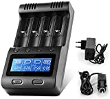 Universal Akku Ladegerät, Zanflare 18650 Ladegerät Batterien Batterieladegerät 4 Schächte LCD Display USB Geräte für wiederaufladbare Batterien Li-ion NI-MH NI-Cd A AA AAA 18650,...