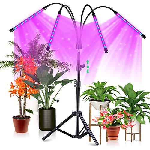 CrazCalf 100W Pflanzenlampe 120 LED Pflanzenlicht mit Stativ für Zimmerpflanzen Pflanzenleuchte Wachstumslampe Wachsen licht Vollspektrum mit Zeitschaltuhr 4/8/12H Stativ verstellbar 38-120cm
