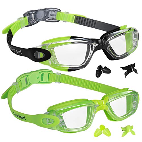 EverSport Kids Swim Goggles 2 Pack, Green/Black & Green, Swimming Goggles for Teenagers, Anti-Fog Anti-UV Youth Swimming Glasses, Leakproof, Free Ear Plugs, one Button Open Straps, for 4-16 Y/O