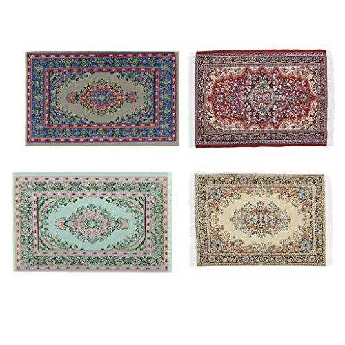 Miniatyr turkisk matta 1/12 golvbeläggning dockor hus vävda mattor Set med 4 miniatyrer dockhus mattor rum inredning