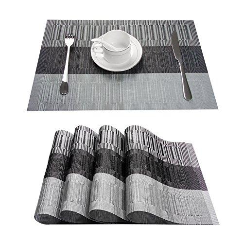 Topfinel 4 Set de Table Bambou en PVC Sets de Table Plastique Tapis résistants au tapotement lavables à Manger pour Cuisine, 30x45, Gris et Noir