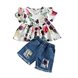 Toddler Baby Girl Summer Outfit Sunflower Ruffled Tops Sleeveless Tie Dye T-Shirt Denim Shorts Pants Tulle Ripped Jeans Set (Style#2, 4-5T)