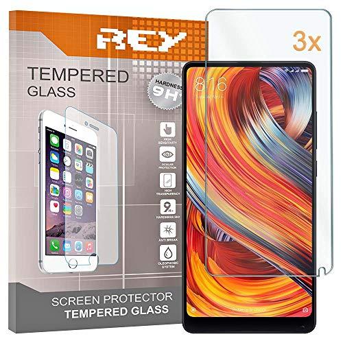 REY 3X Protector de Pantalla para XIAOMI MI Mix 2 / MI Mix 2S, Cristal Vidrio Templado Premium