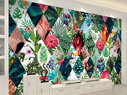 Muursticker Nordic Tropical Plant Flower Flamingo Tv Sofa achtergrond behang binnendecoratie 3D wallpaper 150 cm x 105 cm.