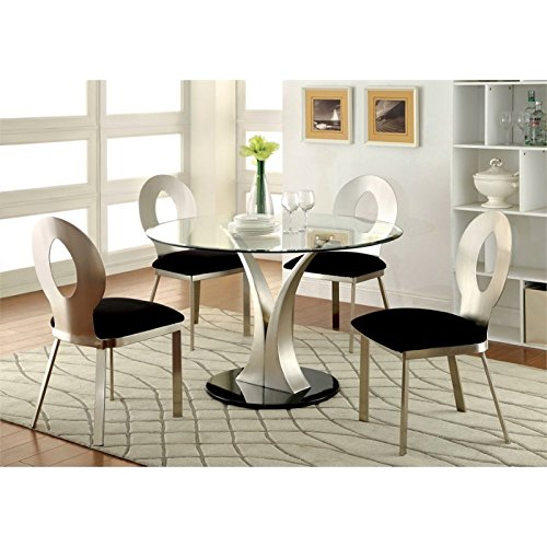 Furniture of America Lopez Oval Tempered Glass Top Dining Table in Silver