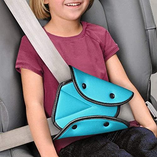 Cinturón de seguridad para niños,Cubierta protectora para cinturon de auto,firme auto hombro correa para el cuello ajustable (Azul)