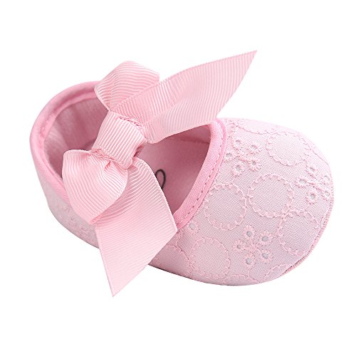 LACOFIA Scarpe da Battesimo neonata per Principessa Bowknot con Suola Morbida Antiscivolo Ballerine Bambina Rosa 0-3 Mesi