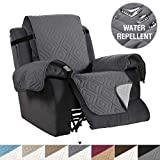 H.VERSAILTEX Recliner Cover Reversible Sofa Slipcover Furniture Protector Water Resistant 2 Inch Wide Elastic Straps Recliner Chair Cover Pets Kids Fit Sitting Width Up to 22' (Recliner, Gray/Beige)