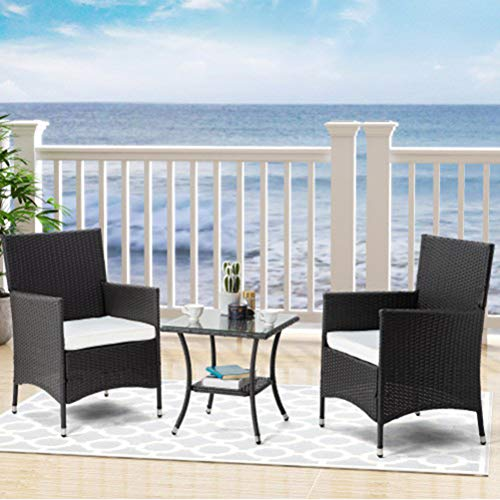 Unizero Patio Furniture 3 Piece Patio Set Chairs Bistro Set Outdoor Rattan Conversation Set for Backyard Porch Poolside Lawn