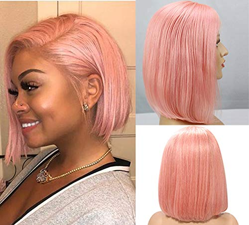 Pink Bob Wigs Straight Lace Front 180% Density Pre Plucked Virgin Human Hair 12inch Middle Part 13×4 frontal Bleach Knot with Baby Hair Pink Color Wig for Women(Could be restyle)