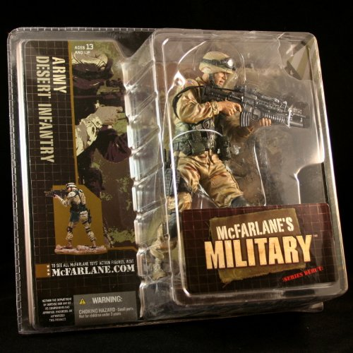 ARMY DESERT INFANTRY CAUCASIAN VARIATION McFarlane's Military Series 1 Action Figure & Display Base