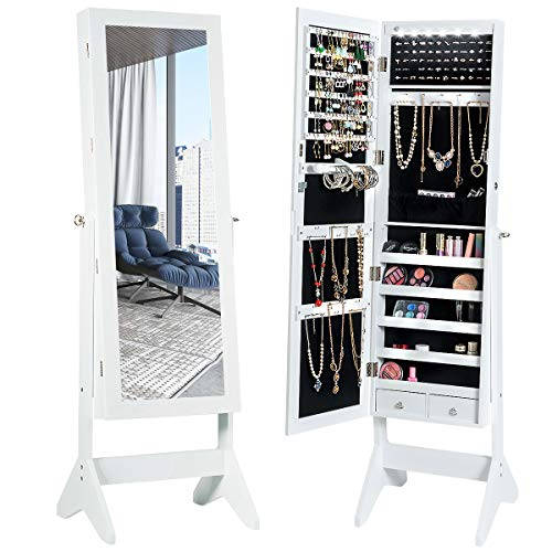 CHARMAID LEDs Jewelry Cabinet with Full-Length Mirror Lockable Jewelry Armoire with 2 Drawers 3 Adjustable Tilt Angles Large Storage Divisional Organizer for Bedroom Dressing Room White