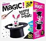 Happy Magic 50 Trick Set - Magic Show Kit for Kids 5 and Up - Clear Instruction Guide with Pictures and Videos - Bunny with Plush Magician Hat