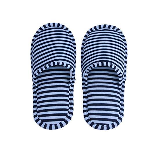 VGEBY 1 Paio Pantofole Pieghevoli Antiscivolo con Sacchetto di Stoccaggio per Casa Volo Albergo Interno (Colore : Strisce Blu per Uomini)