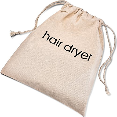 Haartrockner Beutel BaumwollKordelzug Behälter Haartrockner Tasche, 11,8 x 13,8 Zoll, Beige