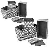 Navaris 12x caja de tela para almacenaje - set de 12x cubo plegable organizador de cajones - cajas para almacenamiento de ropa juguetes - gris blanco