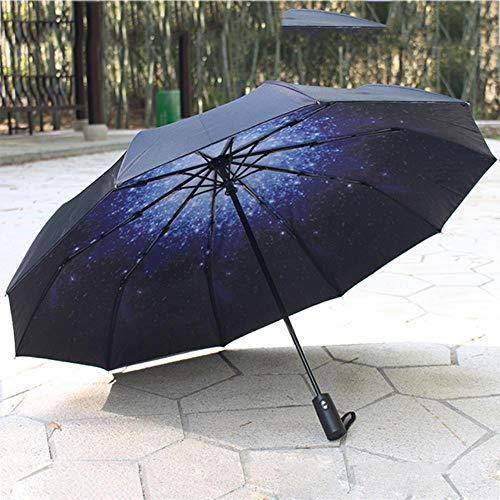 WYC Automatischer Klappschirm Ten Bone Oversize Verstärkte Männer Frauen Großer winddichter Doppeldeck-Regenschirm-Sonnenschirm, starrer Himmel