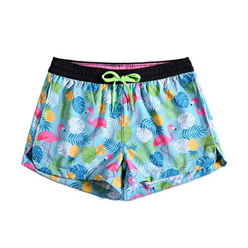 URVIP Badehose für Damen Mädchen Badeshorts für Frauen Schwimmhose Beachshorts Boardshorts Strand Shorts mit Mesh-Futter KW901007 M