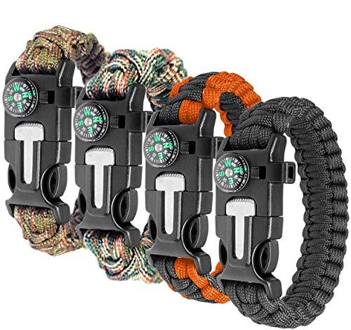 Ember Rock Paracord Survival Bracelet - 4 Pack Survival Kit Firestarter Bracelets - Includes Compass, Flint, Whistle and Parachute Cord