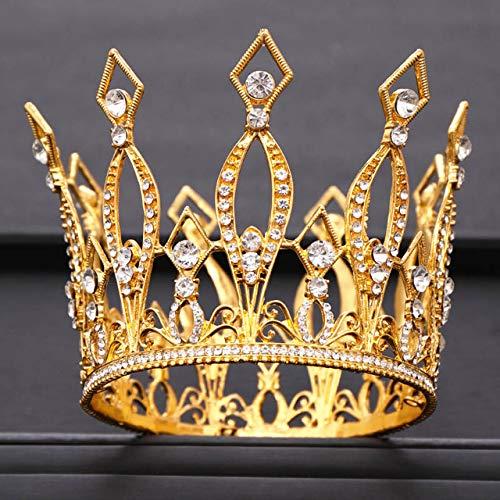 GMZTT - Corona de Cristal Redonda para Boda, Tiara de Novia, Adorno para el Pelo, decoración para el Pelo