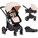 Costzon Infant Stroller, 2-in-1 Convertible Bassinet, Foldable Baby Carriage with Foot Cover, 5-Point Harness, Adjustable Recliner, Handlebar, Large Storage Basket (Beige)
