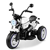 Bable Kids Ride On Motorcycle, 12V Electric Pedal Battery Powered Ride-On Toy for Kids, 3 Wheels Motorized Tricycle Ride On Toy for Boys Girls, with USB Music Player LED Headlights, White