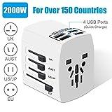 Adaptateur de Voyage Adaptateur Universel 4 Ports USB 3.0, 2000 W Adaptateur Secteur International, Adaptateur de Chargeur Tout-en-Un pour UE/USA/UK/UA/Australie, Plus de 200 Pays